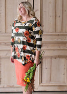 Women's modest plus size floral and stripe top