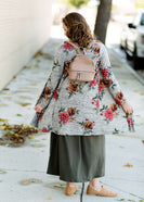 Modest Girls Gray and Burgandy Floral Long Cardigan