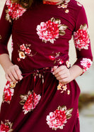 Girls Modest Floral Cinch Waist Navy and Burgandy Midi Dress