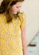 Modest girls and conservative teens mustard floral midi dress