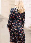 Women's modest floral printed nursing friendly teal dress