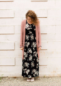 Women's Modest Black Floral Maxi Dress