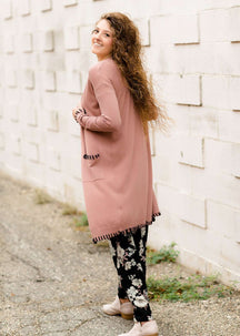 Women's Modest Rose Cardigan with Stitch Detail