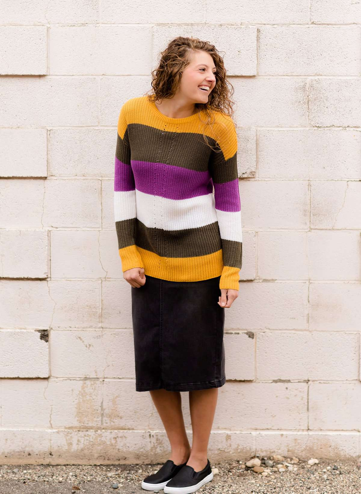 Women's Modest Boat-neck Sweater in Mustard, Olive and Purple stripe