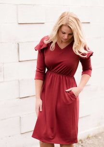 Red Ruffle Midi Dress Modest Women's Clothing