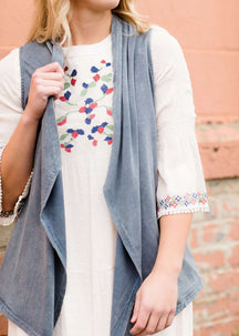 Modest Women's Vintage Wash Knit Long Drape Vest