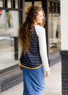 Modest Women's Mustard and Navy Raglan Top