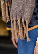 Women's modest fringe taupe scarf