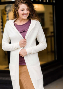 Modest Women's Hooded Long Cream and Charcoal Cardigans