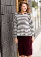 Women's Modest Black Stripe and Lace Peplum Top