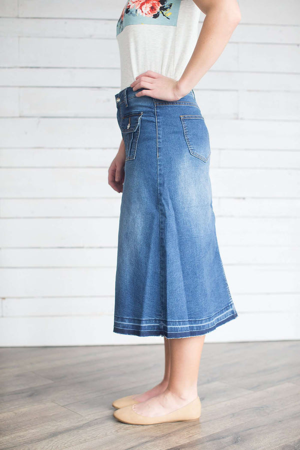 9823246acf Rory Modest Denim Midi Skirt – The Skirt Outlet