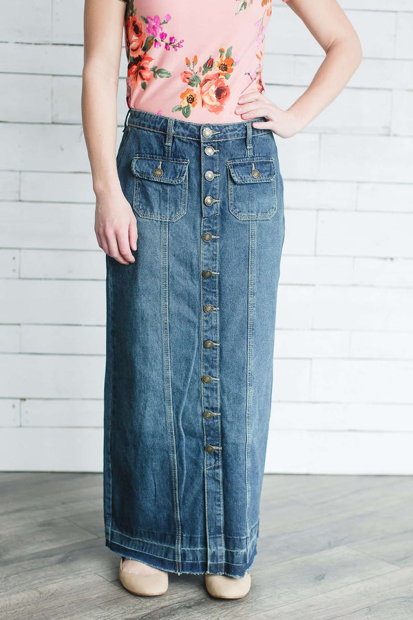Julia Long Denim Skirt With Button Accents