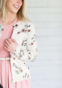 Muted Floral Fitted Cardigan