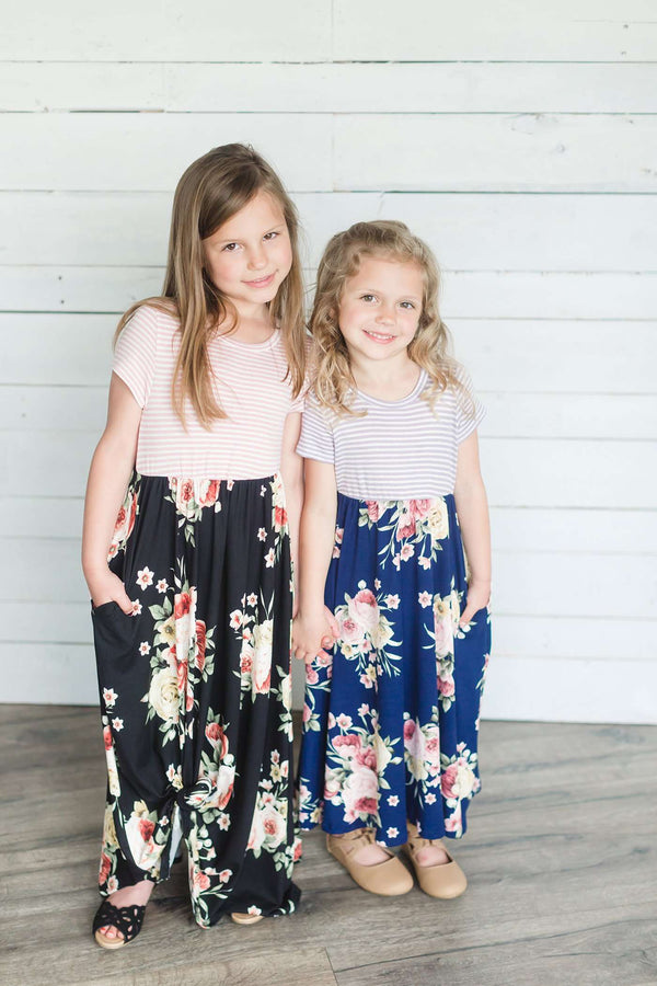 Toddler Short Sleeve Striped Contrast Floral Print Maxi Dress | Side Pockets