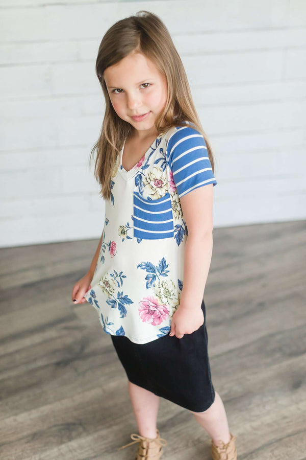 Girls Floral Print Top | Stripe Contrast