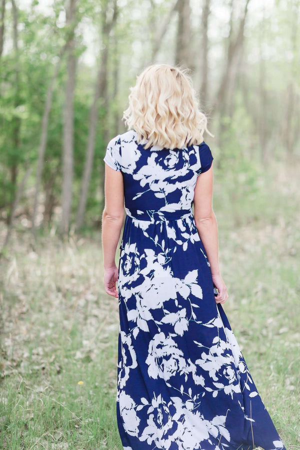 Floral Maxi Short Sleeve Wrap Dress