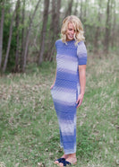 Mix Stripe Maxi Dress With Pocket And 1/2 Sleeve