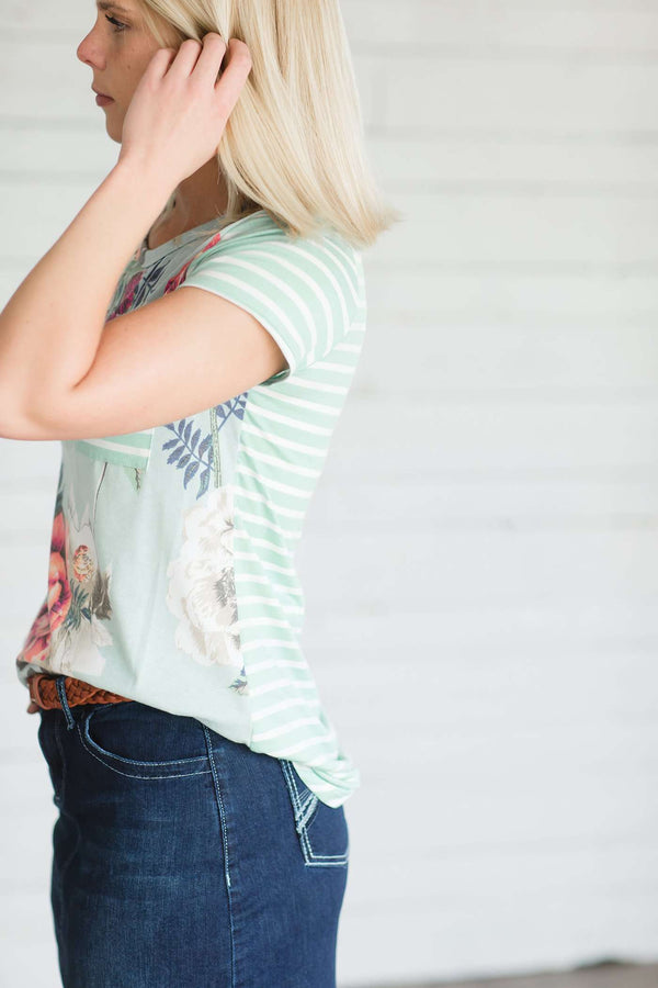 Stripe and Floral Modest Pocket Tee
