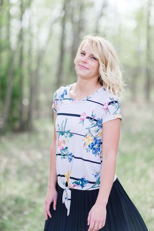 Floral Print Top | Bow Detail