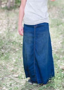 Elyse Modest Denim Skirt | No Slit