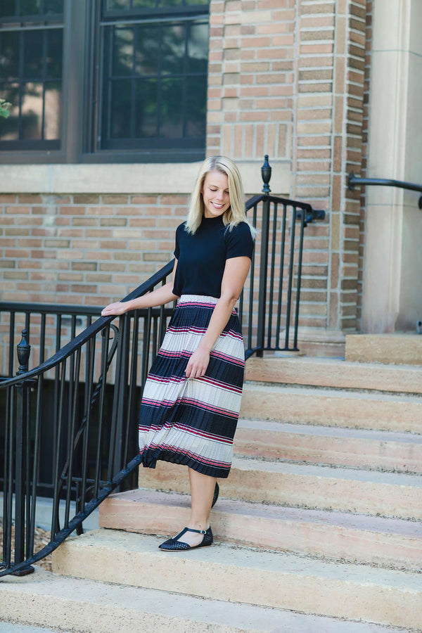 Polka Dot & Striped Pleated Skirt