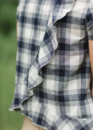 Red or Navy checked country plaid short sleeve top with ruffle back and bottom.