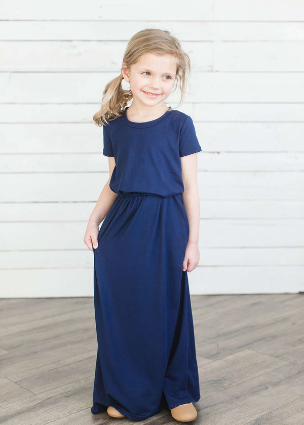 Inherit Co.  | Cambrie Maxi Dress - FINAL SALE | Modest girl's maxi dress in peach, navy or black. 2 hidden side seam pockets, elastic waist and short sleeves.