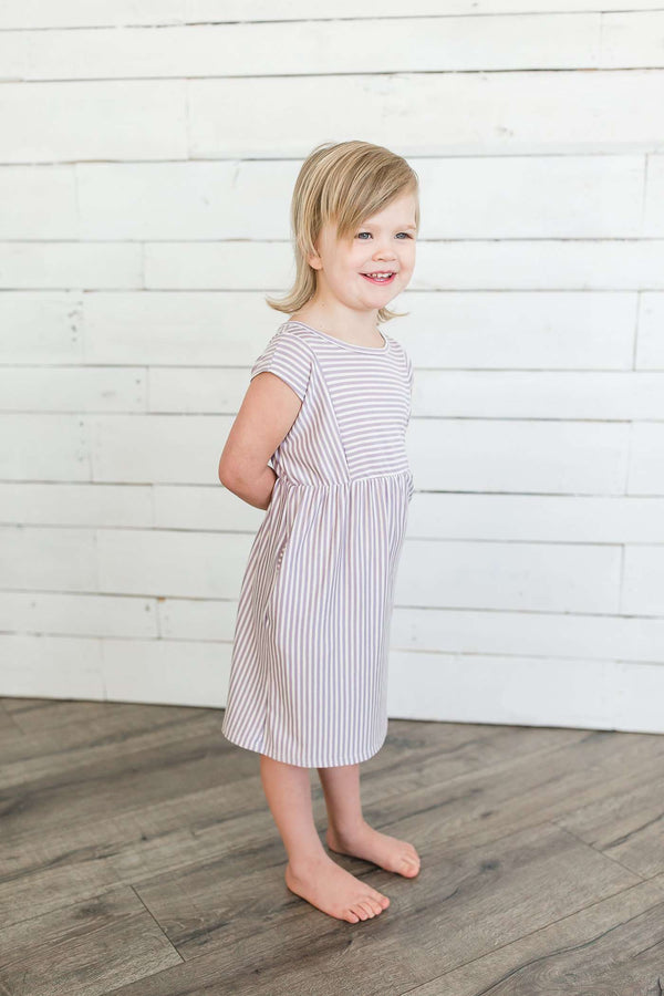 Two-Tone Striped Terry Below-The-Knee Length Dress