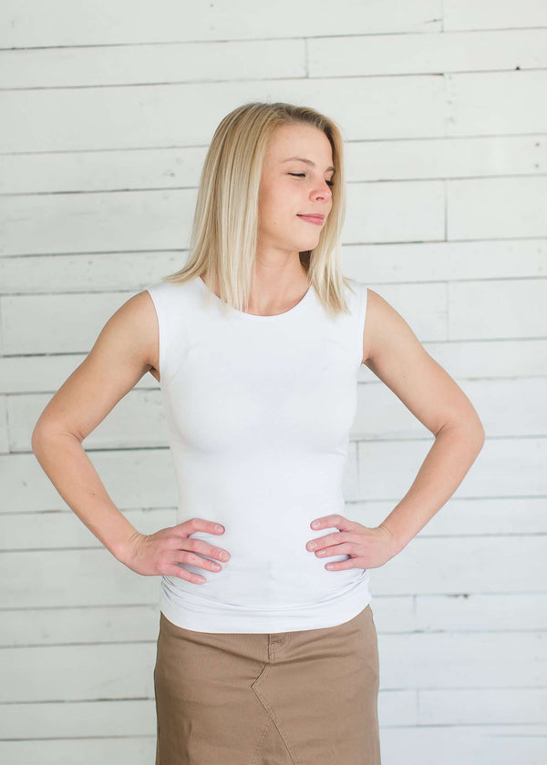 Inherit Co.  | Modest Women's Tops | Lightweight Layering Tank Top | Sleeveless, lightweight layering tank in white or black.