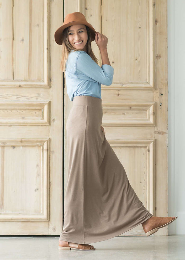 Inherit Co.  | Modest Plus Size Clothing | Clarise Maxi Skirt | Women wearing a modest knit maxi dress in taupe, charcoal, navy, olive and black