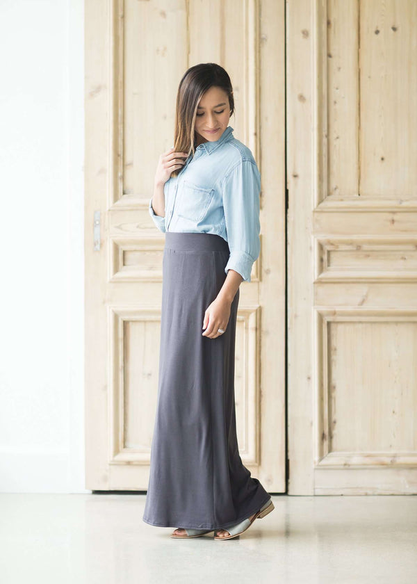 Inherit Co.  | Inherit Originals | Clarise Maxi Skirt | Women wearing a modest knit maxi dress in taupe, charcoal, navy, olive and black