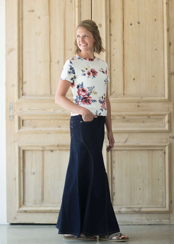 Modest women's country flare maxi skirt in a dark indigo wash.