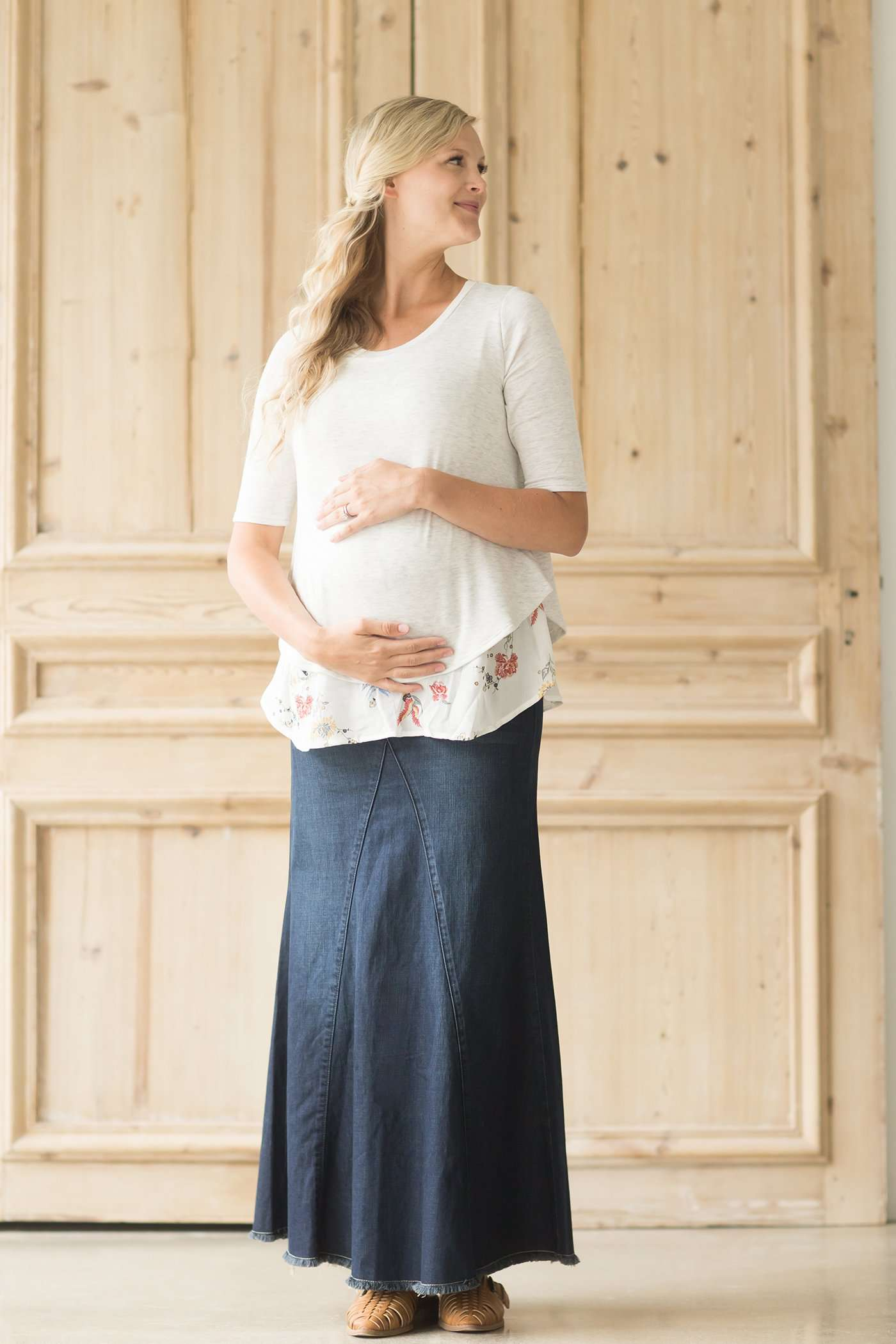 3c6aab71daf Modest Maternity Tonya Long Denim Skirt | Inherit Clothing Company ...