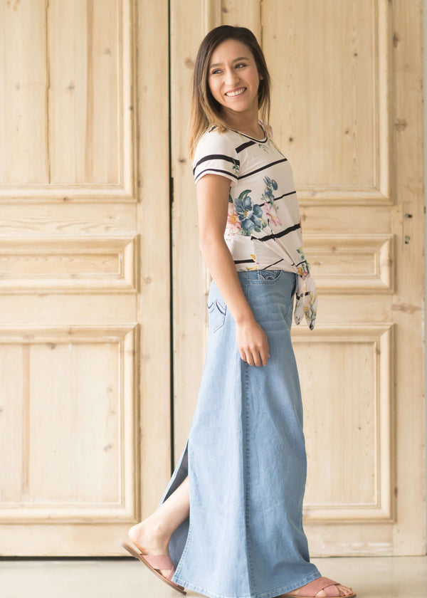 Inherit Co.  | Stella Light Denim Skirt | Long light denim maxi skirt with back slit and two pockets front and back.