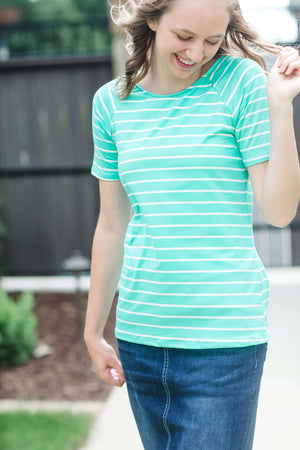 Modest Boat Neck Striped Tee | Half Sleeve
