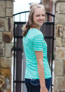 Modest boat-neck and raglan sleeve tee in mauve or teal with white horizontal stripes.