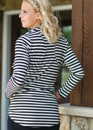 Striped Zipper Cardigan