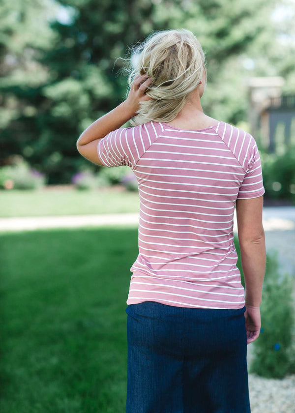 Inherit Co.  | Green | Boat Neck Striped Tee - FINAL SALE | Modest boat-neck and raglan sleeve tee in mauve or teal with white horizontal stripes.