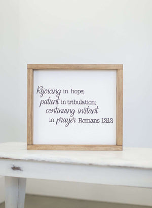 Rejoice in hope wood frame signboard