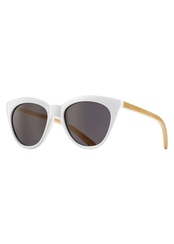 Inherit Co.  | Women's Accessories | Blue Planet - White Bamboo Cat Eye Sunglasses - FINAL SALE | Blue Planet white cat eye bamboo sunglasses