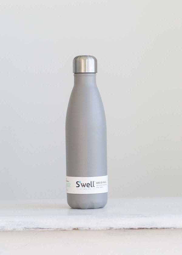 S'well water bottle in a smoky gray design and holds 16 oz.