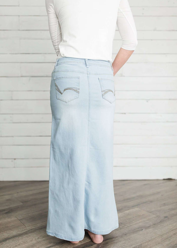 Inherit Co.  | Hailee Long Denim Skirt | Women's long light wash modest denim-jean skirt.