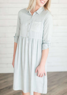 Gathered Chambray Modest Shirt Dress