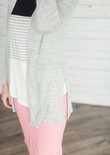 Split Hem Modest Open Cardigan
