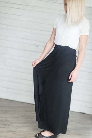 Double Front Layered Modest Maxi Skirt