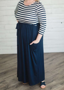 Stripe & Solid Maxi Dress