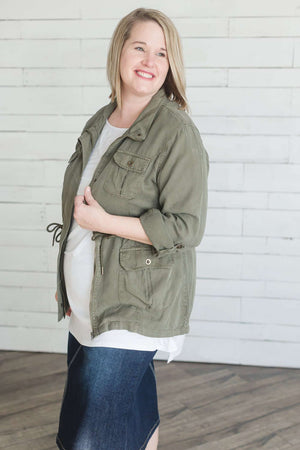 Modest Olive Cargo Jacket | Cinch Waist