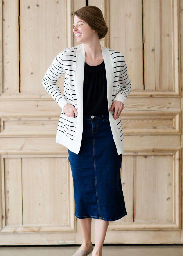 Inherit Co.  | Teacher Stripe Open Front Cardigan-FINAL SALE | woman wearing a black and white striped open front cardigan