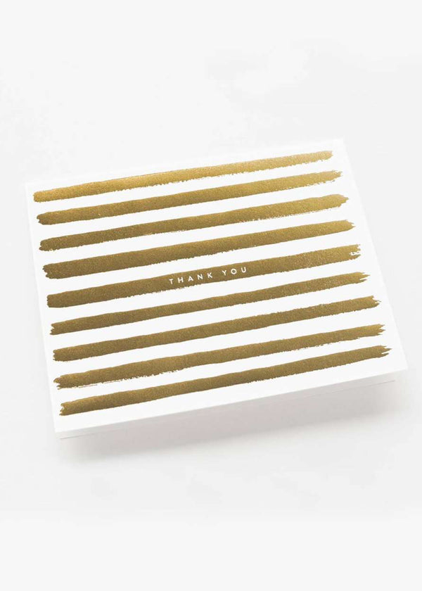 Inherit Co.  | Gold Stripes Thank You Card | Modest Gifts thank you greeting card with gold foil stripes