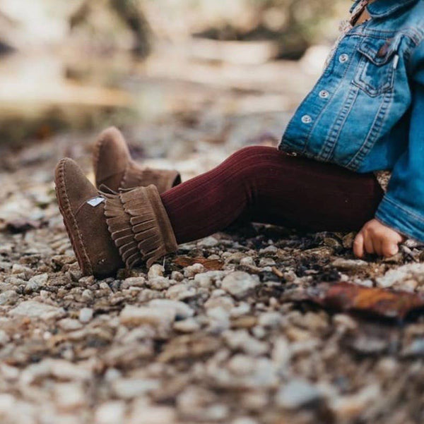 Inherit Co.  | Girls Modest Clothing | Brown Moccasin Baby Booties